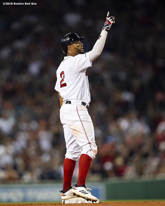 BOSTON, MA - JULY 28: Xander Bogaerts #2 of the Boston Red Sox reacts after hitting a double during the sixth inning of a game against the New York Yankees on July 28, 2019 at Fenway Park in Boston, Massachusetts. (Photo by Billie Weiss/Boston Red Sox/Getty Images) *** Local Caption *** Xander Bogaerts