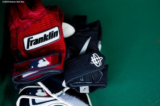 BOSTON, MA - AUGUST 5: Franklin batting gloves are displayed before a game between the Boston Red Sox and the Kansas City Royals on August 5, 2019 at Fenway Park in Boston, Massachusetts. (Photo by Billie Weiss/Boston Red Sox/Getty Images) *** Local Caption ***