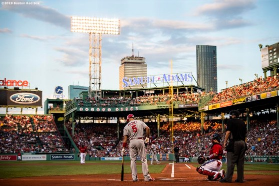BOSTON, MA - AUGUST 9: Albert Pujols #5 of the Los Angeles Angels of Anaheim prepares to bat during the first inning of a game against the Boston Red Sox on August 9, 2019 at Fenway Park in Boston, Massachusetts. (Photo by Billie Weiss/Boston Red Sox/Getty Images) *** Local Caption *** Albert Pujols
