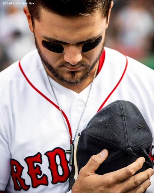 BOSTON, MA - AUGUST 10: Michael Chavis #23 of the Boston Red Sox looks on before a game against the Los Angeles Angels of Anaheim on August 10, 2019 at Fenway Park in Boston, Massachusetts. (Photo by Billie Weiss/Boston Red Sox/Getty Images) *** Local Caption *** Michael Chavis
