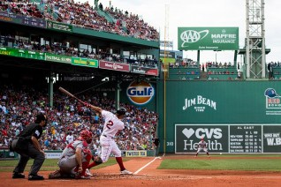 BOSTON, MA - AUGUST 10: Xander Bogaerts #2 of the Boston Red Sox bats during the first inning of a game against the Los Angeles Angels of Anaheim on August 10, 2019 at Fenway Park in Boston, Massachusetts. (Photo by Billie Weiss/Boston Red Sox/Getty Images) *** Local Caption *** Xander Bogaerts