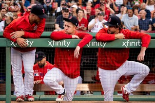 BOSTON, MA - AUGUST 17: Marcus Walden #63, Travis Lakins #56, and Josh Taylor #72 of the Boston Red Sox talk in the dugout before a game against the Baltimore Orioles on August 17, 2019 at Fenway Park in Boston, Massachusetts. (Photo by Billie Weiss/Boston Red Sox/Getty Images) *** Local Caption *** Marcus Walden; Travis Lakins; Josh Taylor
