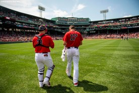 BOSTON, MA - AUGUST 18: Sandy Leon #3 and Nathan Eovaldi #17 of the Boston Red Sox exit the bullpen before a game against the Baltimore Orioles on August 18, 2019 at Fenway Park in Boston, Massachusetts. (Photo by Billie Weiss/Boston Red Sox/Getty Images) *** Local Caption *** Sandy Leon; Nathan Eovaldi