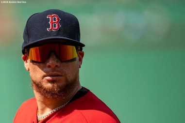 BOSTON, MA - AUGUST 18: Christian Vazquez #7 of the Boston Red Sox looks on during the fifth inning of a game against the Baltimore Orioles on August 18, 2019 at Fenway Park in Boston, Massachusetts. (Photo by Billie Weiss/Boston Red Sox/Getty Images) *** Local Caption *** Christian Vazquez