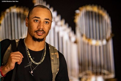 BOSTON, MA - AUGUST 22: Mookie Betts #50 of the Boston Red Sox exits the ballpark after a game against the Kansas City Royals on August 22, 2019 at Fenway Park in Boston, Massachusetts. The game is the completion of the game that was suspended due to weather on August 7 in the top of the 10th inning with a tied score of 4-4. (Photo by Billie Weiss/Boston Red Sox/Getty Images) *** Local Caption *** Mookie Betts