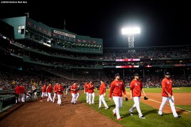 BOSTON, MA - SEPTEMBER 4: Members of the Boston Red Sox bullpen exit the dugout before a game against the Minnesota Twins on September 4, 2019 at Fenway Park in Boston, Massachusetts. (Photo by Billie Weiss/Boston Red Sox/Getty Images) *** Local Caption ***