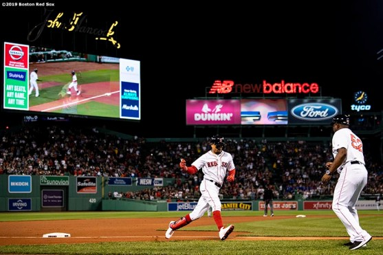 BOSTON, MA - SEPTEMBER 4: Mookie Betts #50 of the Boston Red Sox rounds third base after hitting a solo home run during the first inning of a game against the Minnesota Twins on September 4, 2019 at Fenway Park in Boston, Massachusetts. (Photo by Billie Weiss/Boston Red Sox/Getty Images) *** Local Caption *** Mookie Betts