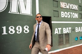BOSTON, MA - SEPTEMBER 8: ESPN Sunday Night Baseball color commentator Alex Rodriguez exits the Green Monster before a game between the Boston Red Sox and the New York Yankees on September 8, 2019 at Fenway Park in Boston, Massachusetts. (Photo by Billie Weiss/Boston Red Sox/Getty Images) *** Local Caption *** Alex Rodriguez
