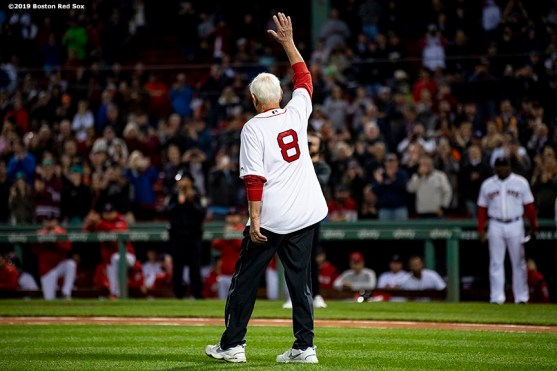 BOSTON, MA - SEPTEMBER 18: Former left fielder Carl Yastrzemski of the Boston Red Sox waves before throwing out a ceremonial first pitch to his grandson Mike Yastrzemski #5 of the San Francisco Giants before a game on September 18, 2019 at Fenway Park in Boston, Massachusetts. (Photo by Billie Weiss/Boston Red Sox/Getty Images) *** Local Caption *** Carl Yastrzemski; Mike Yastrzemski