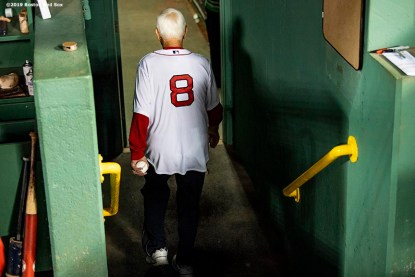 BOSTON, MA - SEPTEMBER 18: Former left fielder Carl Yastrzemski of the Boston Red Sox walks off the field after throwing out a ceremonial first pitch to his grandson Mike Yastrzemski #5 of the San Francisco Giants before a game on September 18, 2019 at Fenway Park in Boston, Massachusetts. (Photo by Billie Weiss/Boston Red Sox/Getty Images) *** Local Caption *** Carl Yastrzemski; Mike Yastrzemski