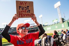 BOSTON, MA - SEPTEMBER 19: A young fan displays a sign during a game between the Boston Red Sox and the San Francisco Giants on September 19, 2019 at Fenway Park in Boston, Massachusetts. (Photo by Billie Weiss/Boston Red Sox/Getty Images) *** Local Caption ***