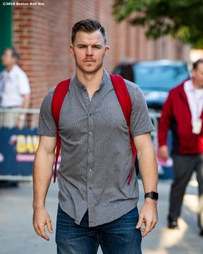 BOSTON, MA - SEPTEMBER 19: Brock Holt #12 of the Boston Red Sox exits the stadium following a game against the San Francisco Giants on September 19, 2019 at Fenway Park in Boston, Massachusetts. (Photo by Billie Weiss/Boston Red Sox/Getty Images) *** Local Caption *** Brock Holt
