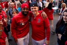 BOSTON, MA - SEPTEMBER 27: Jackie Bradley Jr. #19 and Brock Holt #12 of the Boston Red Sox pose for a photograph at the gates before a game against the Baltimore Orioles on September 27, 2019 at Fenway Park in Boston, Massachusetts. (Photo by Billie Weiss/Boston Red Sox/Getty Images) *** Local Caption *** Brock Holt; Jackie Bradley Jr.