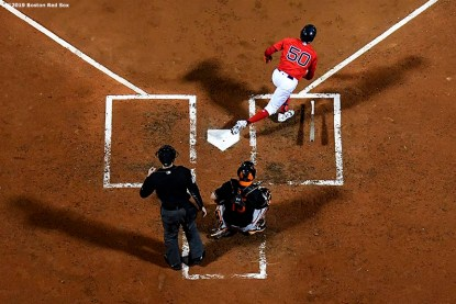 BOSTON, MA - SEPTEMBER 27: Mookie Betts #50 of the Boston Red Sox bats during the fourth inning of a game against the Baltimore Orioles on September 27, 2019 at Fenway Park in Boston, Massachusetts. (Photo by Billie Weiss/Boston Red Sox/Getty Images) *** Local Caption *** Mookie Betts