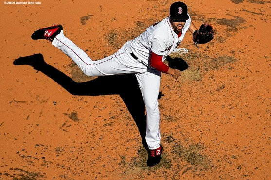 BOSTON, MA - SEPTEMBER 28: Heath Hembree #36 of the Boston Red Sox delivers during the fifth inning of a game against the Baltimore Orioles on September 28, 2019 at Fenway Park in Boston, Massachusetts. (Photo by Billie Weiss/Boston Red Sox/Getty Images) *** Local Caption *** Heath Hembree