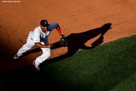 BOSTON, MA - SEPTEMBER 28: Rafael Devers #11 of the Boston Red Sox prepares to field a ball during the seventh inning of a game against the Baltimore Orioles on September 28, 2019 at Fenway Park in Boston, Massachusetts. (Photo by Billie Weiss/Boston Red Sox/Getty Images) *** Local Caption *** Rafael Devers