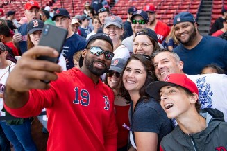 BOSTON, MA - SEPTEMBER 29: Jackie Bradley Jr. #19 of the Boston Red Sox poses for a selfie photograph with fans before a game against the Baltimore Orioles on September 29, 2019 at Fenway Park in Boston, Massachusetts. (Photo by Billie Weiss/Boston Red Sox/Getty Images) *** Local Caption *** Jackie Bradley Jr.
