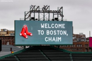 BOSTON, MA - OCTOBER 28: A message is displayed on the scoreboard as Chaim Bloom is introduced as Boston Red Sox Chief Baseball Officer during a press conference on October 28, 2019 at Fenway Park in Boston, Massachusetts. (Photo by Billie Weiss/Boston Red Sox/Getty Images) *** Local Caption *** Chaim Bloom