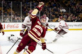 March 22, 2019, Boston, MA: Christopher Grando #21 of Boston College reacts after scoring a goal during the third period of the 2019 Hockey East semi-final game against University of Massachusetts at TD Garden in Boston, Massachusetts Friday, March 22, 2019. (Photo by Billie Weiss/Boston College)