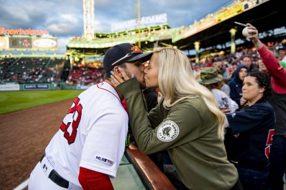 BOSTON, MA - APRIL 24: Michael Chavis #23 of the Boston Red Sox kisses his girlfriend before a game against the Detroit Tigers on April 24, 2019 at Fenway Park in Boston, Massachusetts. (Photo by Billie Weiss/Boston Red Sox/Getty Images) *** Local Caption *** Michael Chavis