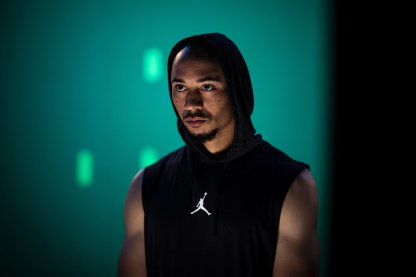 August 16, 2019 , Brighton, MA: Boston Red Sox right fielder Mookie Betts behind the scenes on set during a spot production shoot for BodyArmor at High Output Studios in Brighton, Massachusetts Friday, August 16, 2019. (Photo by Billie Weiss/BodyArmor)