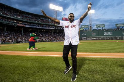 BOSTON, MA - SEPTEMBER 9: Former designated hitter David Ortiz #34 of the Boston Red Sox is introduced before throwing out a ceremonial first pitch as he returns to Fenway Park before a game against the New York Yankees on September 9, 2019 at Fenway Park in Boston, Massachusetts. (Photo by Billie Weiss/Boston Red Sox/Getty Images) *** Local Caption *** David Ortiz