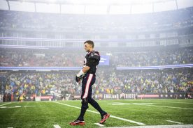 FOXBOROUGH, MASSACHUSETTS - OCTOBER 27: Quarterback Tom Brady #12 of the New England Patriots prepares for the game against the Cleveland Browns at Gillette Stadium on October 27, 2019 in Foxborough, Massachusetts. (Photo by Billie Weiss/Getty Images)