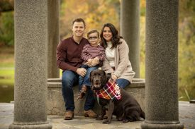 October 29, 2019 , Brookline, MA: Lakyn, Brock, Griff, and Tank Holt pose for family portrait photographs at Larz Anderson Park in Brookline, Massachusetts Tuesday, October 29, 2019. (Photo by Billie Weiss)
