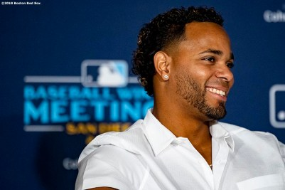 BOSTON, MA - DECEMBER 10: Xander Bogaerts #2 of the Boston Red Sox reacts as he is introduced as a member of the 2019 All-MLB team during the 2019 Major League Baseball Winter Meetings on December 10, 2019 in San Diego, California. (Photo by Billie Weiss/Boston Red Sox/Getty Images) *** Local Caption *** Xander Bogaerts