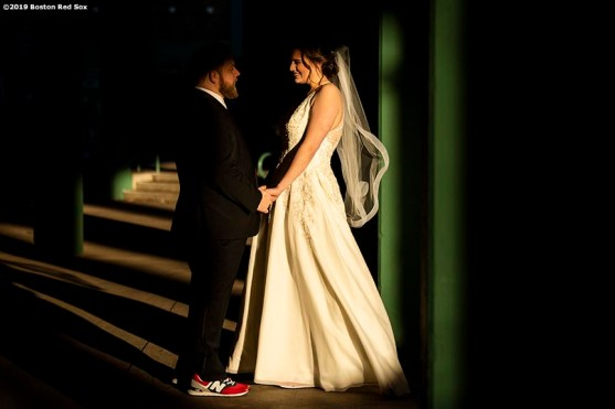 December 11, 2019 , Boston, MA: A wedding is held for Boston Red Sox fans Shannon and Drew Lanthier as part of the 2019 Gift Of Sox day at Fenway Park in Boston, Massachusetts Wednesday, December 11, 2019. (Photo by Billie Weiss/Boston Red Sox)