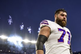 FOXBOROUGH, MA - DECEMBER 21: Ryan Bates #71 of the Buffalo Bills looks on before a game against the New England Patriots Gillette Stadium on December 21, 2019 in Foxborough, Massachusetts. (Photo by Billie Weiss/Getty Images) *** Local Caption *** Ryan Bates