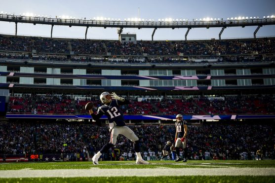 FOXBOROUGH, MA - DECEMBER 29: Tom Brady #12 of the New England Patriots warms up before a game against the Miami Dolphins at Gillette Stadium on December 29, 2019 in Foxborough, Massachusetts. (Photo by Billie Weiss/Getty Images) *** Local Caption *** Tom Brady