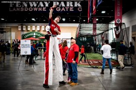 SPRINGFIELD, MA - JANUARY 18: A fan poses with Big League Brian during the 2020 Red Sox Winter Weekend on January 18, 2020 at MGM Springfield and MassMutual Center in Springfield, Massachusetts. (Photo by Billie Weiss/Boston Red Sox/Getty Images) *** Local Caption ***