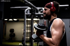 BROOKFIELD, CT - DECEMBER 20: Matt Barnes #32 of the Boston Red Sox lifts during an off-season workout on December 20, 2019 at Iron Factory Gym in Brookfield, Connecticut. (Photo by Billie Weiss/Boston Red Sox/Getty Images) *** Local Caption *** Matt Barnes
