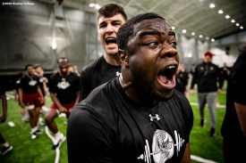 February 5, 2020, Chestnut Hill, MA: Boston College Football has an early morning practice at Fish Field House at Boston College in Chestnut Hill, Massachusetts Wednesday, February 5, 2020. (Photo by Billie Weiss/Boston College)