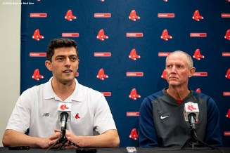 FT. MYERS, FL - FEBRUARY 11: Chief Baseball Officer Chaim Bloom introduces Ron Roenicke of the Boston Red Sox as the Boston Red Sox Interim Manager during a press conference on February 11, 2020 at JetBlue Park at Fenway South in Fort Myers, Florida. (Photo by Billie Weiss/Boston Red Sox/Getty Images) *** Local Caption *** Ron Roenicke; Chaim Bloom