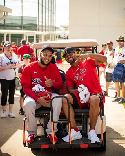 FT. MYERS, FL - FEBRUARY 15: Eduardo Rodriguez #57 of the Boston Red Sox reacts with Xander Bogaerts #2 as they ride a golf cart during a team workout on February 15, 2020 at JetBlue Park at Fenway South in Fort Myers, Florida. (Photo by Billie Weiss/Boston Red Sox/Getty Images) *** Local Caption *** Eduardo Rodriguez; Xander Bogaerts