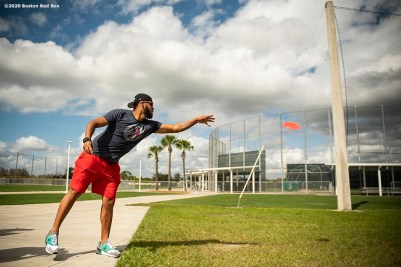 FT. MYERS, FL - FEBRUARY 15: Eduardo Rodriguez #57 of the Boston Red Sox plays frisbee golf during a team workout on February 15, 2020 at jetBlue Park at Fenway South in Fort Myers, Florida. (Photo by Billie Weiss/Boston Red Sox/Getty Images) *** Local Caption *** Eduardo Rodriguez