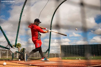 FT. MYERS, FL - FEBRUARY 16: Kevin pillar of the Boston Red Sox takes batting practice during a team workout on February 16, 2020 at jetBlue Park at Fenway South in Fort Myers, Florida. (Photo by Billie Weiss/Boston Red Sox/Getty Images) *** Local Caption *** Kevin pillar
