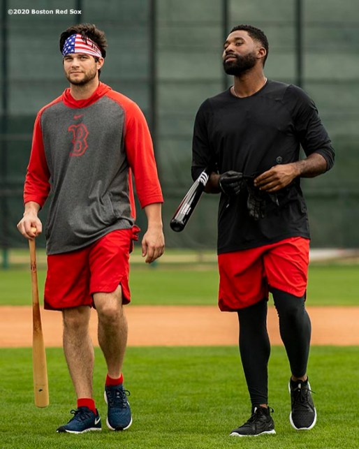 FT. MYERS, FL - FEBRUARY 16: Andrew Benintendi #16 and Jackie Bradley Jr. #19 of the Boston Red Sox react during a team workout on February 16, 2020 at jetBlue Park at Fenway South in Fort Myers, Florida. (Photo by Billie Weiss/Boston Red Sox/Getty Images) *** Local Caption *** Andrew Benintendi; Jackie Bradley Jr.