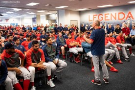 FT. MYERS, FL - FEBRUARY 17: Interim Manager Ron Roenicke of the Boston Red Sox speaks during a team meeting before a team workout on February 17, 2020 at jetBlue Park at Fenway South in Fort Myers, Florida. (Photo by Billie Weiss/Boston Red Sox/Getty Images) *** Local Caption *** Ron Roenicke