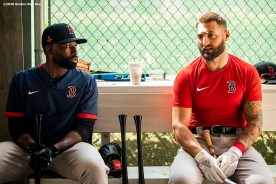 FT. MYERS, FL - FEBRUARY 17: Jackie Bradley Jr. #19 and Kevin Pillar #5 of the Boston Red Sox talk during a team workout on February 17, 2020 at jetBlue Park at Fenway South in Fort Myers, Florida. (Photo by Billie Weiss/Boston Red Sox/Getty Images) *** Local Caption *** Jackie Bradley Jr.; Kevin Pillar