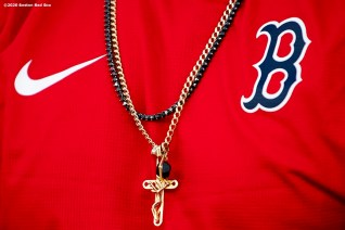 FT. MYERS, FL - FEBRUARY 17: The necklace of J.D. Martinez #28 the Boston Red Sox is shown during a team workout on February 17, 2020 at jetBlue Park at Fenway South in Fort Myers, Florida. (Photo by Billie Weiss/Boston Red Sox/Getty Images) *** Local Caption *** J.D. Martinez