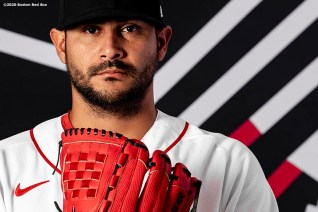 FT. MYERS, FL - FEBRUARY 19: Martin Perez #54 of the Boston Red Sox poses for a portrait during team photo day on February 19, 2020 at jetBlue Park at Fenway South in Fort Myers, Florida. (Photo by Billie Weiss/Boston Red Sox/Getty Images) *** Local Caption *** Martin Perez