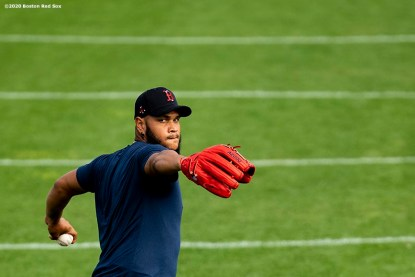 FT. MYERS, FL - FEBRUARY 20: Eduardo Rodriguez #57 of the Boston Red Sox throws during a team workout on February 20, 2020 at jetBlue Park at Fenway South in Fort Myers, Florida. (Photo by Billie Weiss/Boston Red Sox/Getty Images) *** Local Caption *** Eduardo Rodriguez