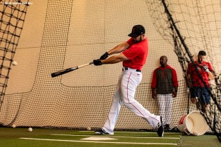 FT. MYERS, FL - FEBRUARY 25: Mitch Moreland #18 of the Boston Red Sox takes batting practice before a Grapefruit League game against the Baltimore Orioles on February 25, 2020 at jetBlue Park at Fenway South in Fort Myers, Florida. (Photo by Billie Weiss/Boston Red Sox/Getty Images) *** Local Caption *** Mitch Moreland