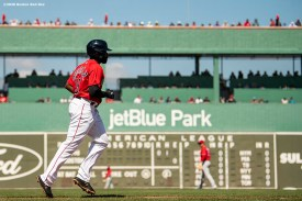 FT. MYERS, FL - FEBRUARY 27: Jackie Bradley Jr. #19 of the Boston Red Sox walks during the inning of a Grapefruit League game against the Philadelphia Phillies on February 27, 2020 at jetBlue Park at Fenway South in Fort Myers, Florida. (Photo by Billie Weiss/Boston Red Sox/Getty Images) *** Local Caption *** Jackie Bradley Jr.