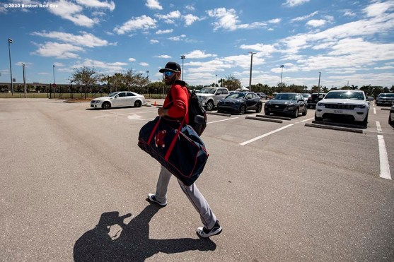 FT. MYERS, FL - FEBRUARY 28: J.D. Martinez #28 of the Boston Red Sox walks through the parking lot as he drives to CenturyLink Sports Complex for a Grapefruit League game against the Minnesota Twins on February 28, 2020 in Fort Myers, Florida. (Photo by Billie Weiss/Boston Red Sox/Getty Images) *** Local Caption *** J.D. Martinez