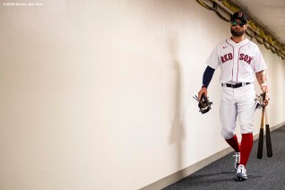 FT. MYERS, FL - FEBRUARY 29: Kevin Pillar #5 of the Boston Red Sox walks through the tunnel before a Grapefruit League game against the New York Yankees on February 29, 2020 at jetBlue Park at Fenway South in Fort Myers, Florida. (Photo by Billie Weiss/Boston Red Sox/Getty Images) *** Local Caption *** Kevin Pillar
