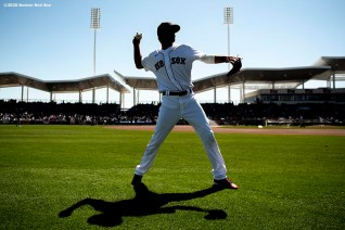 FT. MYERS, FL - FEBRUARY 29: C.J. Chatham #43 of the Boston Red Sox warms up before a Grapefruit League game against the New York Yankees on February 29, 2020 at jetBlue Park at Fenway South in Fort Myers, Florida. (Photo by Billie Weiss/Boston Red Sox/Getty Images) *** Local Caption *** C.J. Chatham